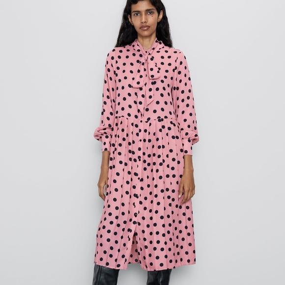 Zara Dresses & Skirts - ZARA Pleated Polka Dot Dress